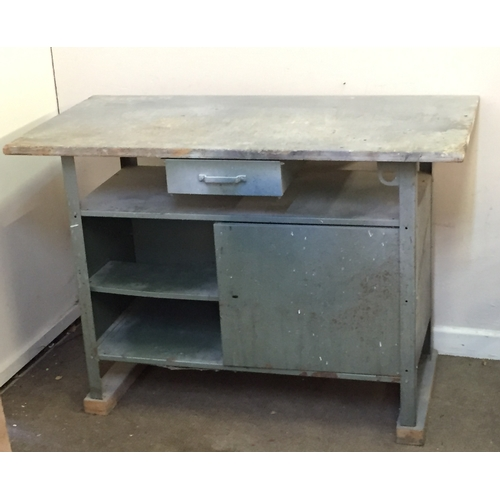 34 - Metal workshop bench with wooden top 61cm x 120cm x 84cm...
