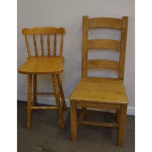 39 - Two Hardwood chairs , high chair measuring 41cm x 41cm x 92cm and the other measuring at 46cm x 49cm...