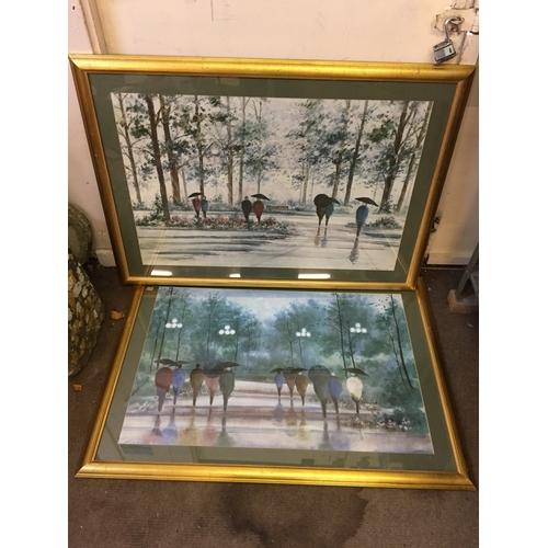 84 - Two gilt framed prints by russ erikson 80cm x 110cm...