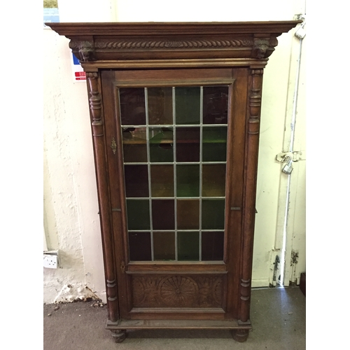 25 - European Glazed Bookcase With Carved Lion Head Decoration 163 x 99 x 41 cms...