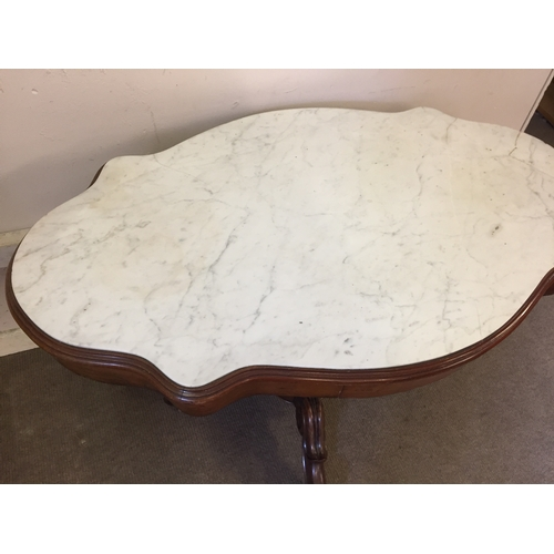 40 - Marble topped table With Drawers Top A/F  69cm x 112cm x 74cm...