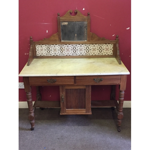 3 - Marble Top Washstand With Tiled And Mirror Back, 108 x 52 x 74 cms...