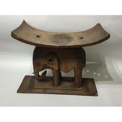 19 - Carved Wood Elephant Stool Possibly Tribal 42 x 51 cms...