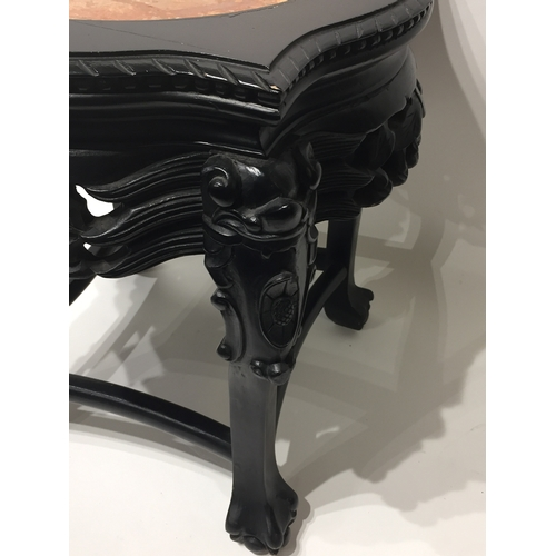 42 - Chinese Carved Wood And Marble Top Plant Stand 46 cms High...