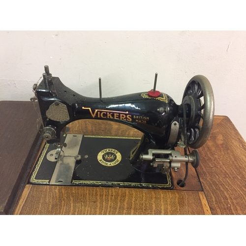 43 - Vintage Treadle Vickers Sewing Machine...