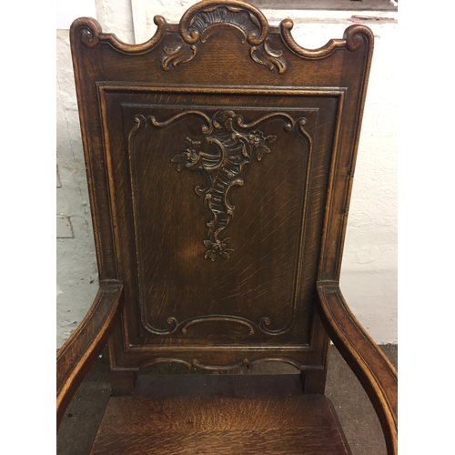 4 - French Carved Oak Gothic Arm Chair...