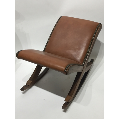 6 - Leather Stud French  Footstool Rocker...