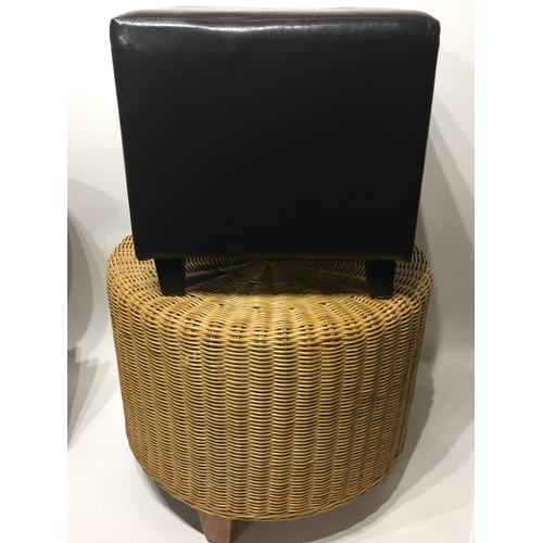 8 - Vintage Cane Foot Stool And One Other (2)...