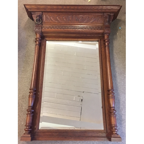 17 - Carved Wood Hall Mirror With Lion Decoration 128 x 100 cms...