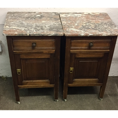 22 - Pair Of Marble Top Pot Cupboards 40 x 40 x 65 cms High...