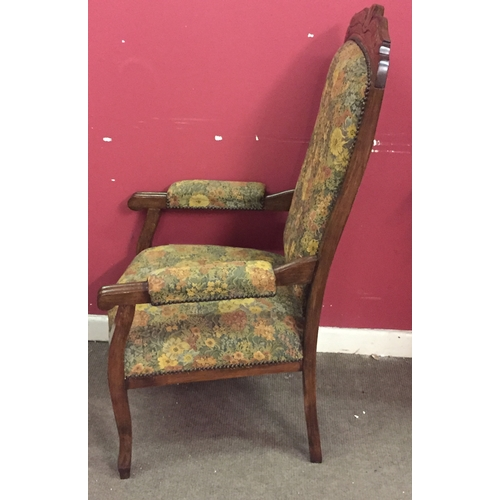 23 - Wood And Upholstered Hall Chair...