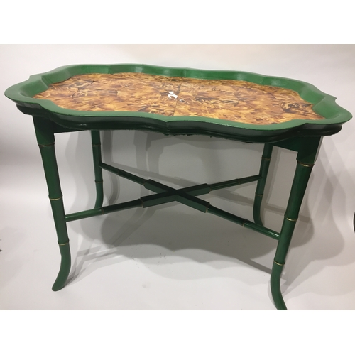 40 - Vintage Bamboo Style Table With Faux Turtle Shell Top 70 x 50x 51 cms...