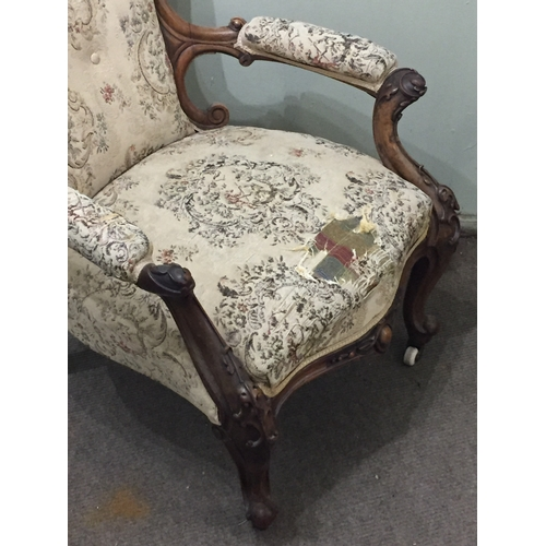 41 - Carved Wood Upholstered Chair...