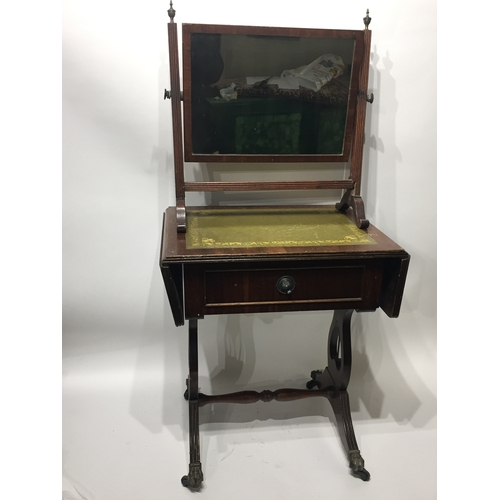 50 - Antique Toilet Mirror Along With A Antique Style Drop Leaf Table....