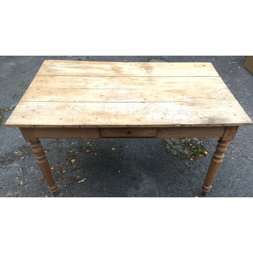 58 - Rustic Pine Table With Central Drawer...