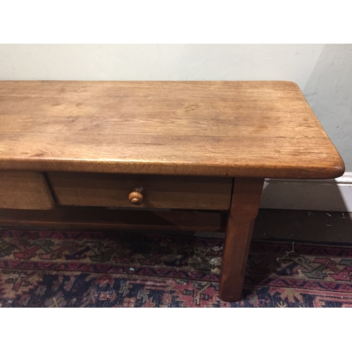 20a - Early Oak Pegged Low Table With Two Drawers . 121 x 44 x 54 cms...