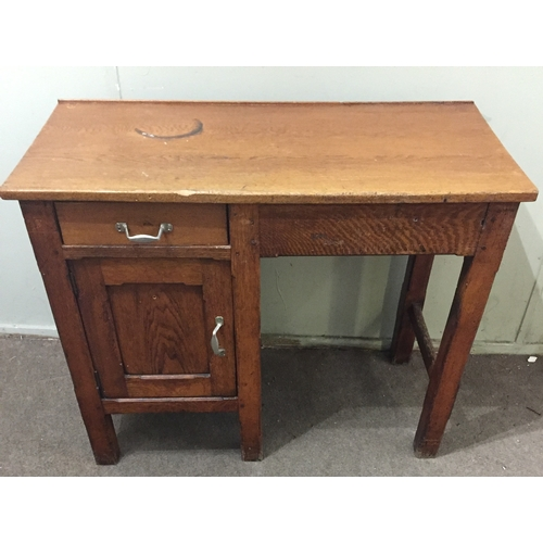 21 - Similar To Previous Lot Vintage Rustic Industrial Bench With Drawer And Cupboard....