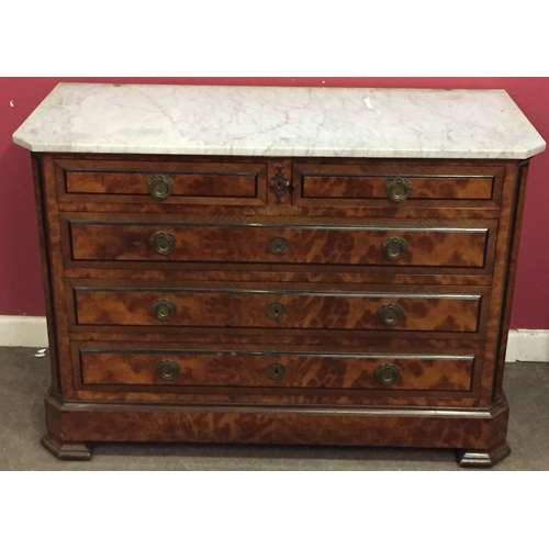 4 - Marble Top 2 Over 3 French Chest...