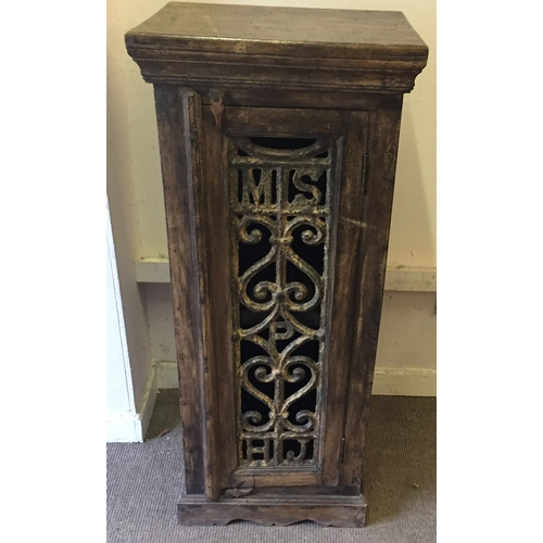23 - Hard Wood Possibly Indian Cupboard With Interesting Iron Insert From A Railway Station. 114 x 48 x 3...