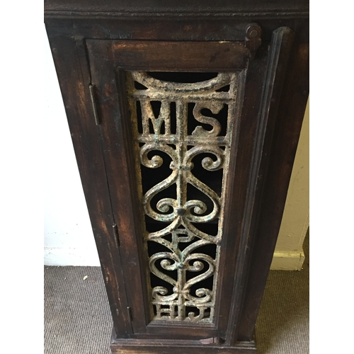 24 - Similar To Previous Lot Hard Wood Possibly Indian Cupboard With Interesting Iron Insert From A Railw...