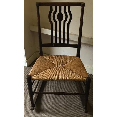 28 - Vintage Rush Seat Rocking Chair...