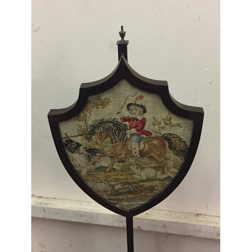 39 - Antique Tapestry Pole Fire Screen  123 cms High...