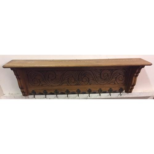 42 - Carved Wood French 9 Hook Coat Shelf 127 Cms...