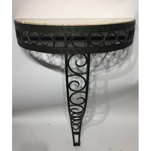 43 - Demilune Top And Iron Based  Table 86 x 60 x 27 cms...
