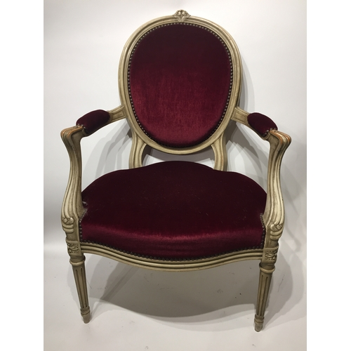44 - French Painted Louis Style Arm Chair...