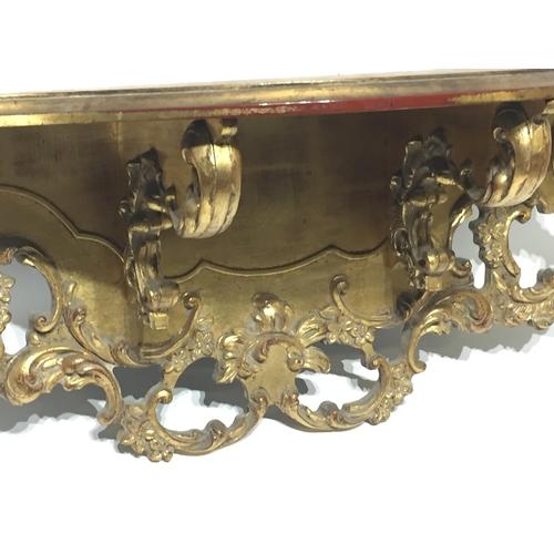 45 - Gold Carved Wood Shelf 74 x 26 cms...