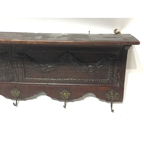 48 - Antique French Carved Wood Coat Hook Shelf 86cms...