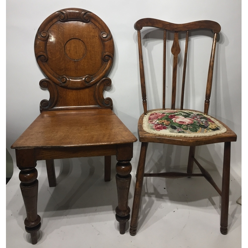40a - English Hall Chair Along With A Stick-back Chair (2)...