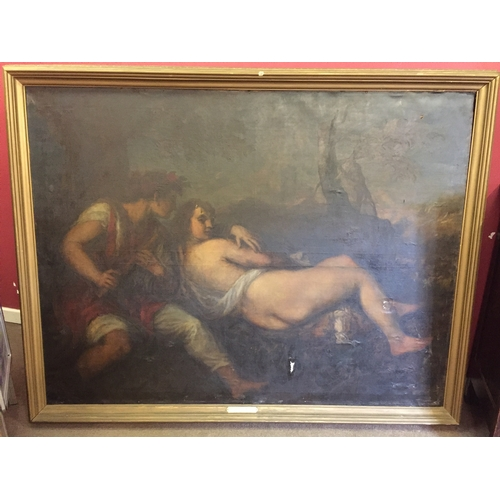 41 - Interesting Large oil on canvas possibly Italian school, name plaque reads daphnis et chloe ecole it...