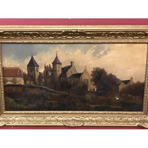 42 - European Oil On Canvas With Heavy Gauge Gilt Wood Frame.123 x 73 cms...