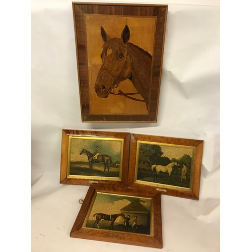 43 - 3 Antique Style Horse Prints Along With A Marquetry Inlay  Horse Picture (4)...