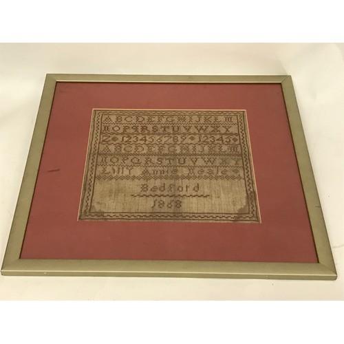 44 - Framed 19th Century Sampler...