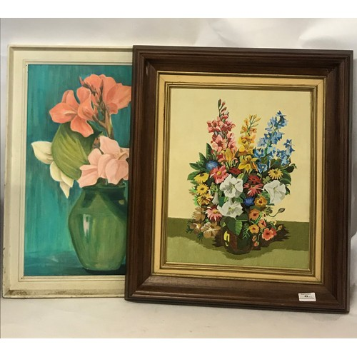 49 - 2 x Framed  Still Life Of Flowers On Canvas. Largest  74 x 63 cms...