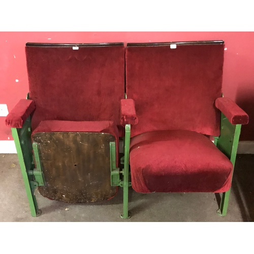 16 - Pair Of Vintage Circa 1930's Theatre Chairs...