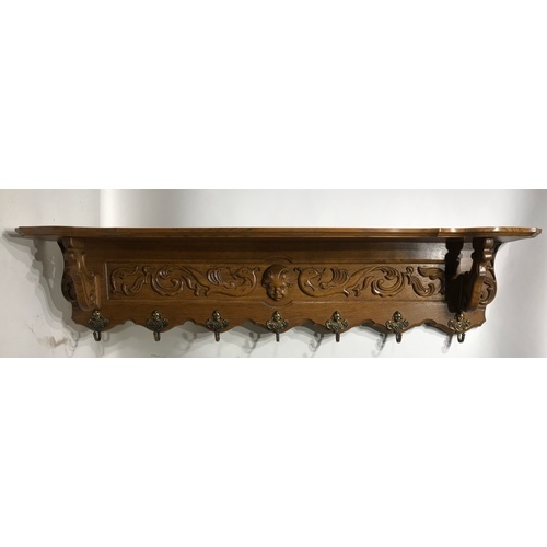 10 - French Oak Coat Hook Shelf With Carved Wood Decoration And Hooks. 118 cms...