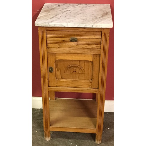 17 - Marble Top Pot Cupboard / Night Stand...