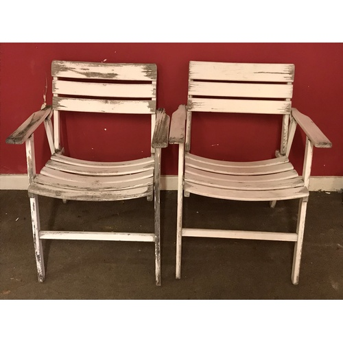 19 - 2 Wood Folding Garden Chairs...