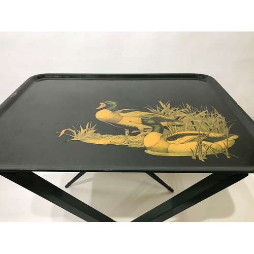 25 - Painted Butlers Tray With Duck Decoration...