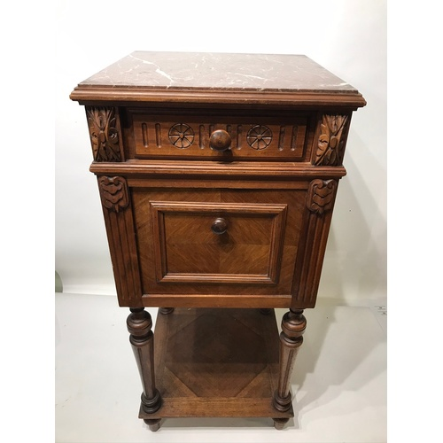 34 - Antique Marble Pot Cupboard With Drawer . 83 x 38 x 38 cms...