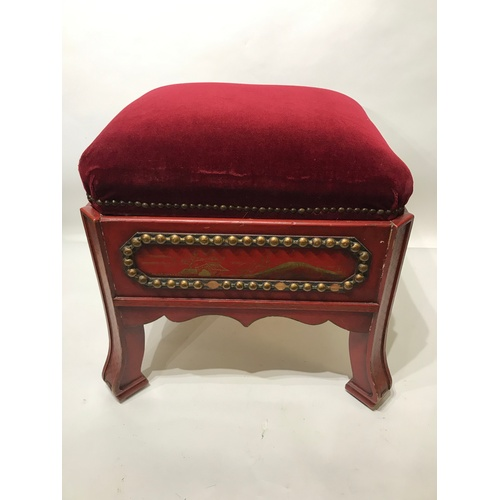 38 - Oriental Design Painted Wood  Stool With Seat And Storage. 50 x 50 x 44 cms...