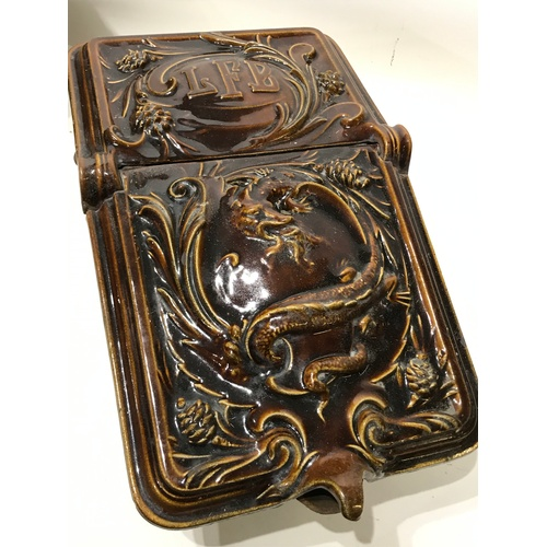 41 - Antique French Enamel Coal Scuttle / Bucket With Enamel Dragon Decoration...