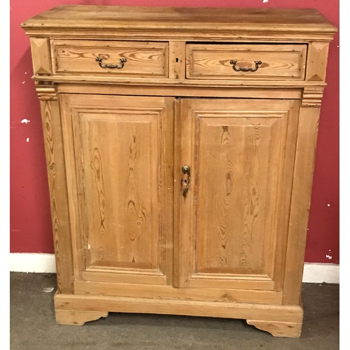 44 - Vintage Pine 2 Drawer Cupboard 105 x 46 x 123 cms...