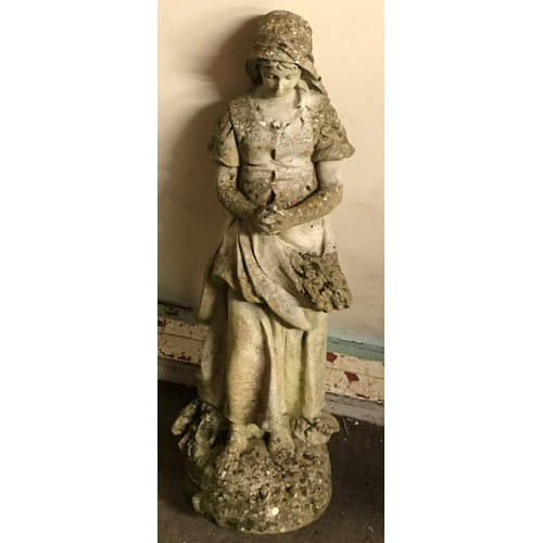 51 - Concrete  Garden Ornament Of A Lady Flower Picker . 72 cms High...