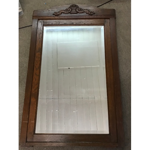 52 - Antique Bevelled Edge Hall Mirror With Carved Wood Lozenge . 131 x 80 cms...