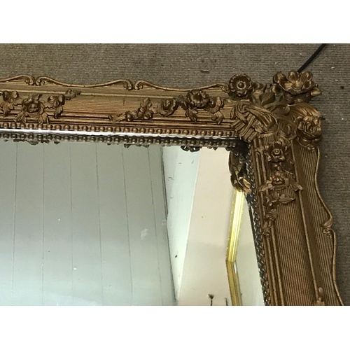 53 - Large Antique Panelled Back Mirror With Gilt Flower Decoration. 174 x 105 cms...