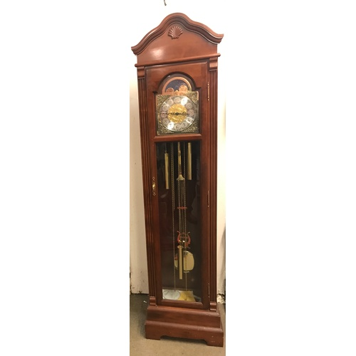56 - Bulova Long Case Clock, Good  Working Order Key Pendulum Weights Etc. 205 cms High...